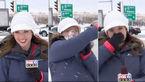 شوخی عجیب با خانم خبرنگار   پیش از پخش زنده + فیلم