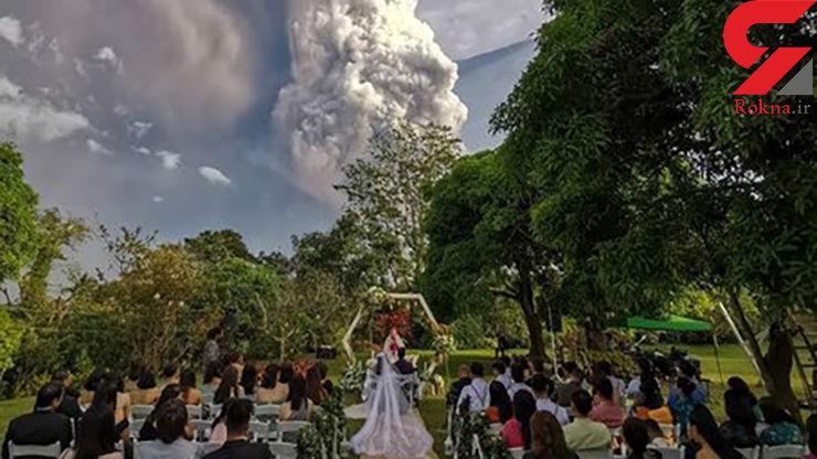 جشن عروسی زیر فوران وحشتناک آتشفشان +عکس
