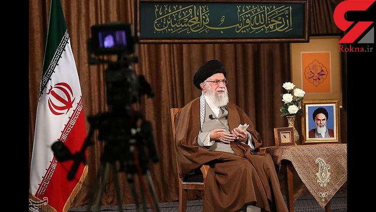 آیه نصب شده در حسینیه امام خمینی هنگام سخنرانی رهبر معظم انقلاب اشاره به چه نکته ای است؟