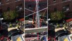 سقوط مرگبار آتش نشان از ساختمان آتشین + فیلم