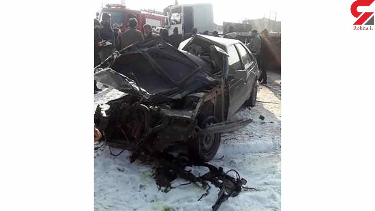 حادثه رانندگی در قزوین با ۲ کشته و ۳ مصدوم