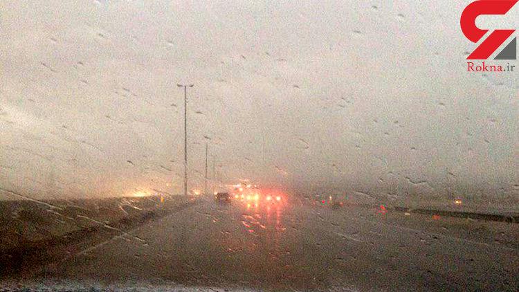 طوفان شدید در اتوبان تهران-قم+عکس