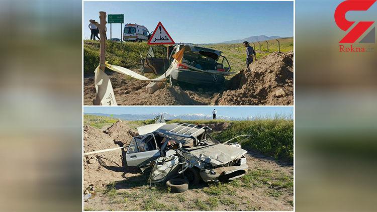 یک کشته و ۳ مصدوم در اثر واژگونی پراید در جاده مرند-جلفا+عکس