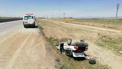 عکس  واژگونی مرگبار  پراید در محور مشهد به نیشابور