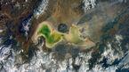 عکس هوایی دریاچه زیبا و عجیب ایران در اینستاگرام فضانورد روس
