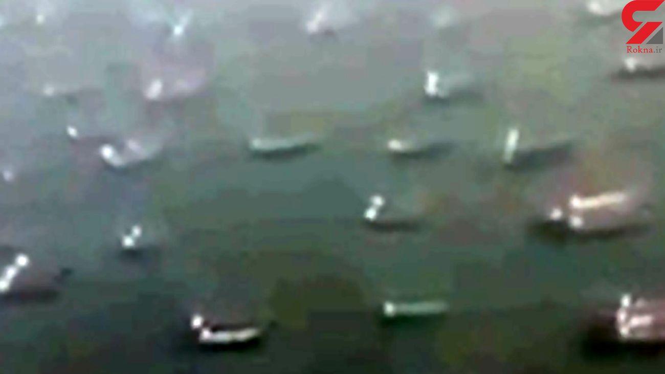 فیلم ترافیک کشتی ها در انتظار بازگشایی کانال سوئز