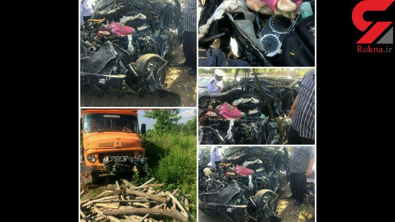 سوناتا زیر کامیون رفت و به آهن پاره تبدیل شد / ۴ سرنشین سوناتا کشته شدند + عکس