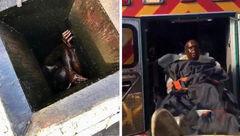 نجات سارق در مخزن روغن رستوران+عکس