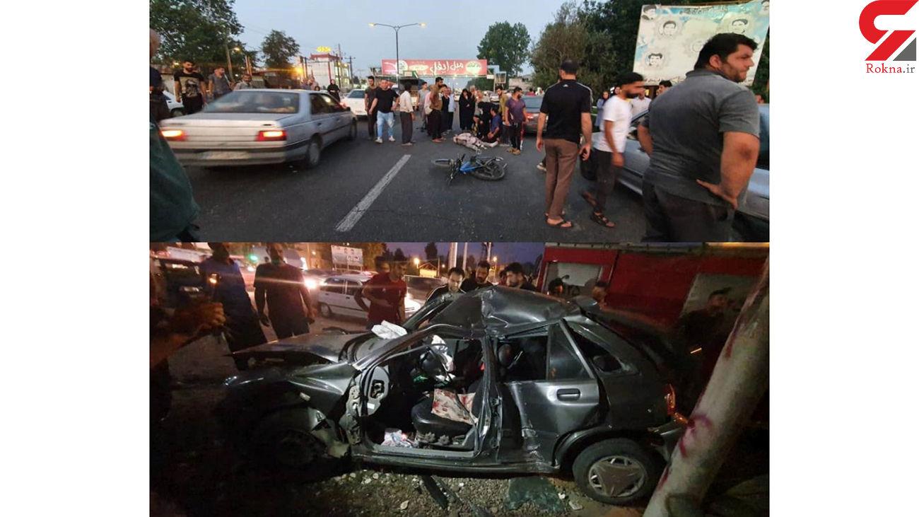 مرگ دردناک دوچرخه سوار 19 ساله در تصادف رشت + عکس