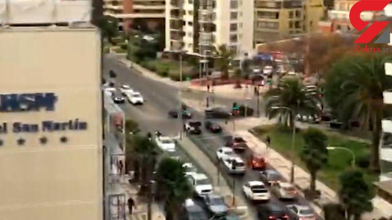 فیلم لحظه زلزله 6.9 ریشتری در یک برج بلند را ببینید + فیلم
