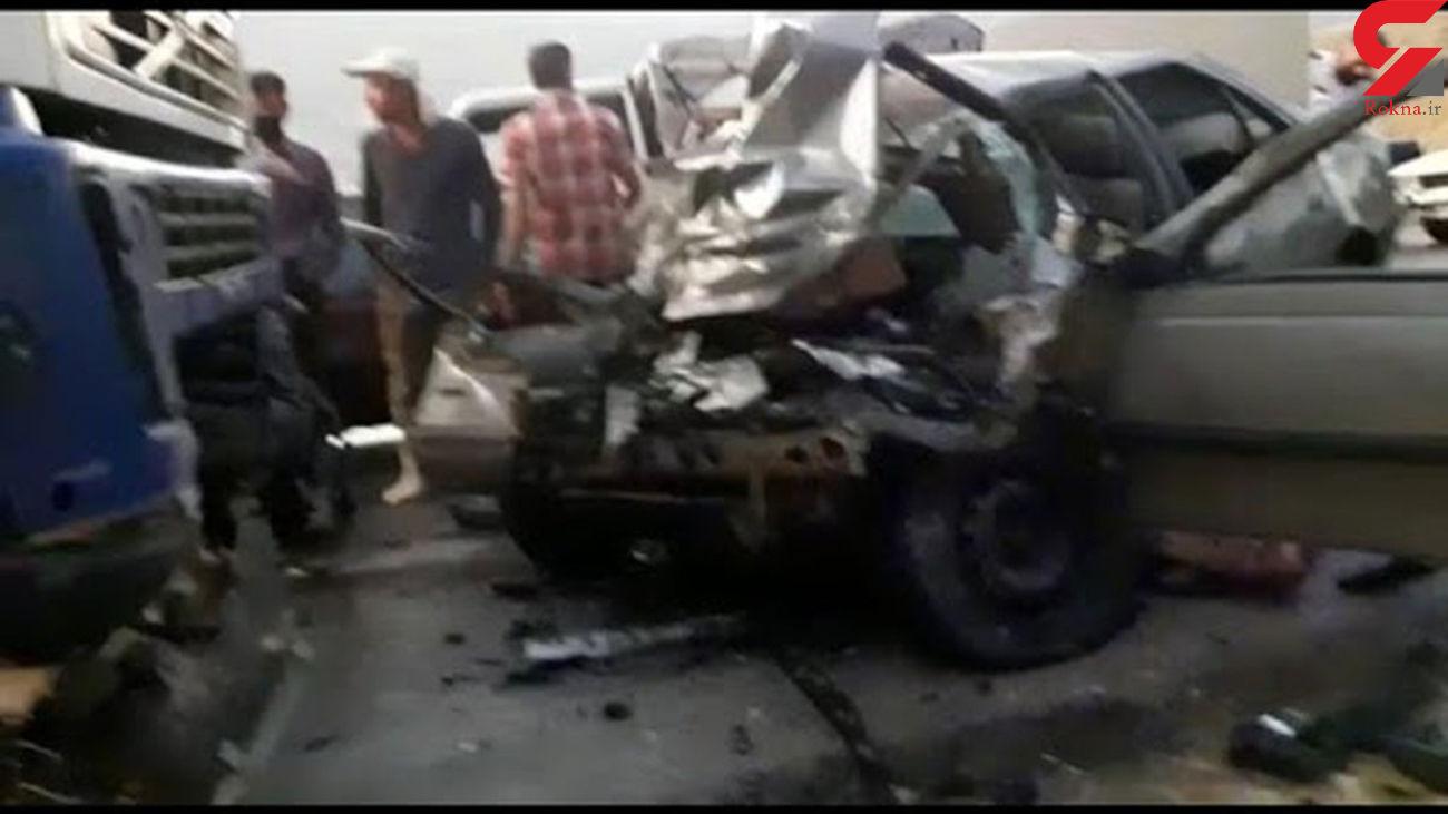 کشته شدن راننده خودرو پژو 405 در برخورد با تریلی