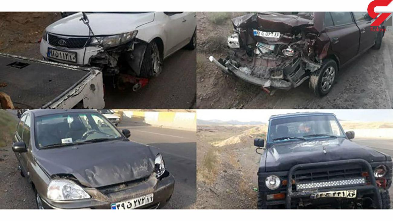 تصادف زنجیرهای در محور مشهد-تهران /  ۱۵ تن مجروح شدند + عکس