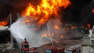 فیلم آتش سوزی جدید بندر بیروت / تلاشها برای اطفای حریق ادامه دارد + عکس