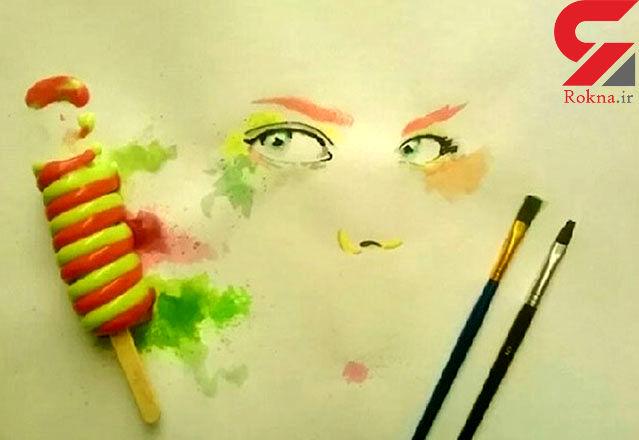 تابلو نقاشی با بستنی آب شده