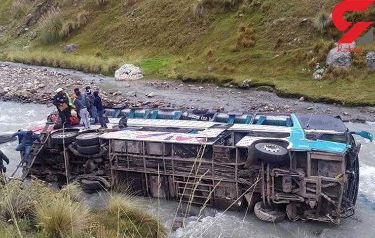 40 مسافر قربانی سقوط اتوبوس به رودخانه + عکس