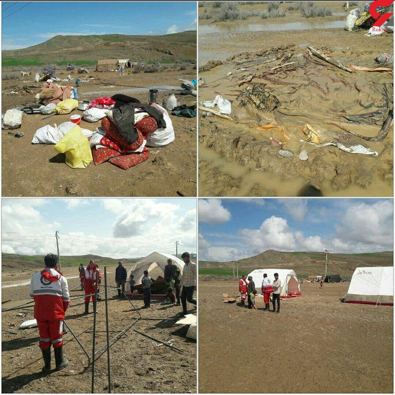 جمعیت هلال احمرهشترودبه آسیب دیدگان ناشی از سیل روز دوشنبه امداد رسانی کرد