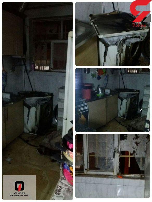 آتش سوزی آشپزخانه منزل مسکونی