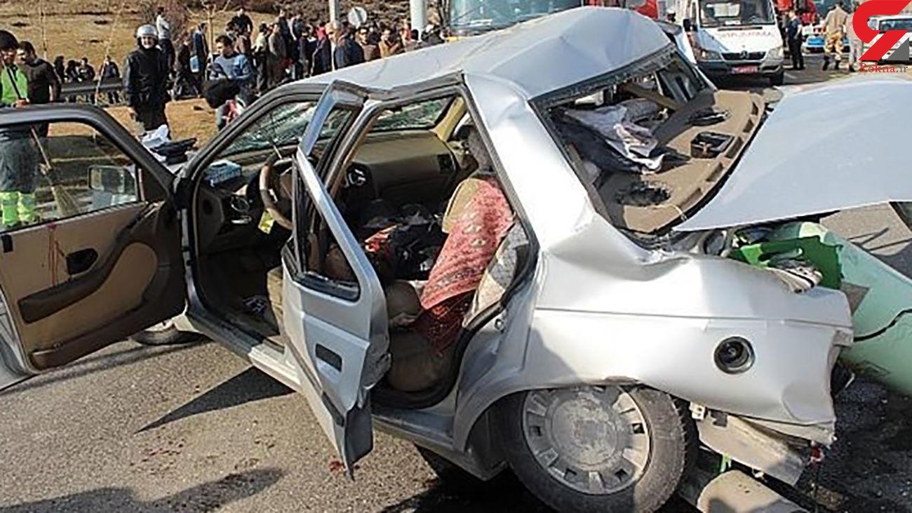 تصادف مرگبار در جهرم / 2 تن در پژوی له شده جان باختند