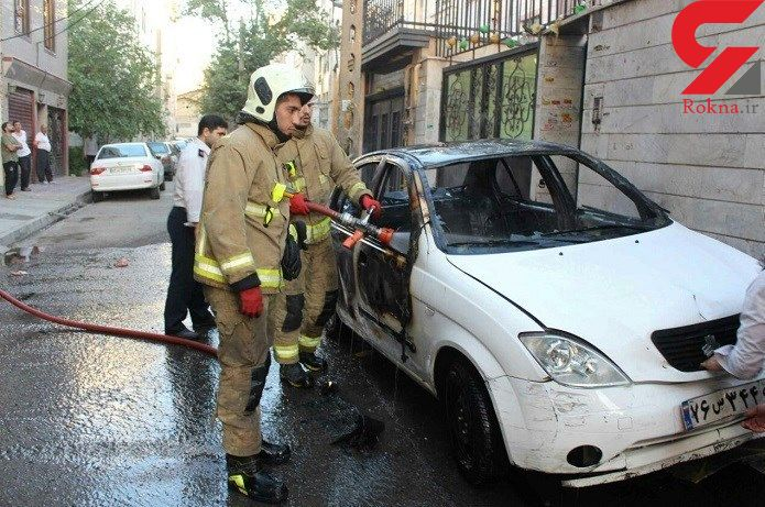 آتش گرفتن مبهم خودرو تیبا + تصاویر