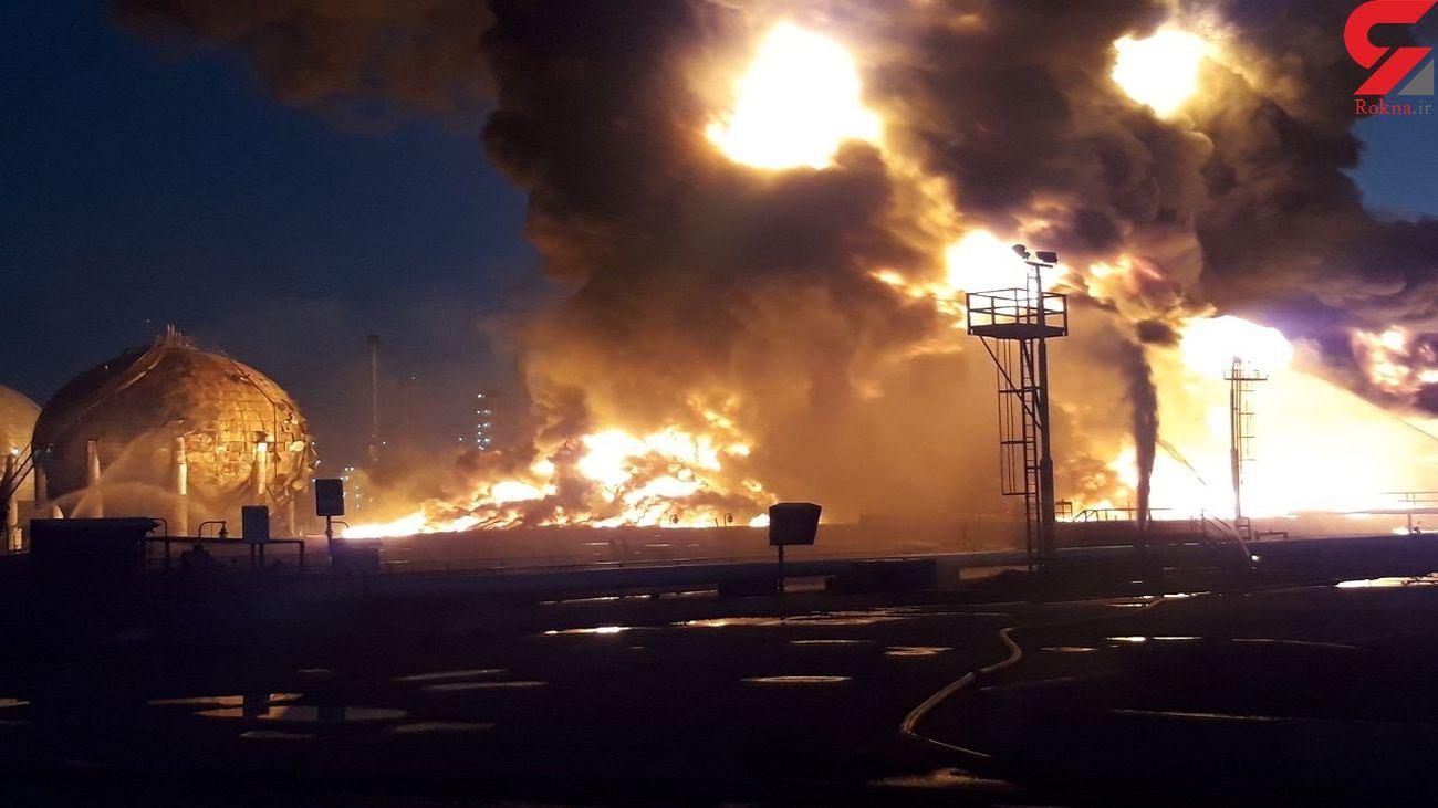 مخزن بزرگ ۴ هزار لیتری پالایشگاه تهران در آتش / جلوگیری از انفجار توسط آتش نشانان فداکار