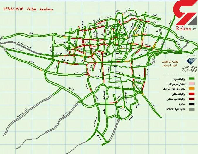 وضعیت ترافیکی صبحگاهی شهر تهران