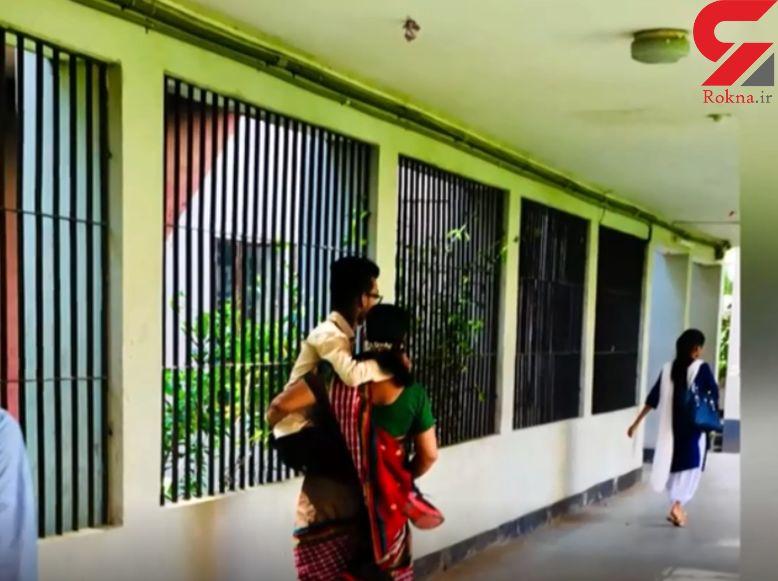 مادر فداکار پسر معلولش را تا دانشگاه به دوش میکشد +تصاویر