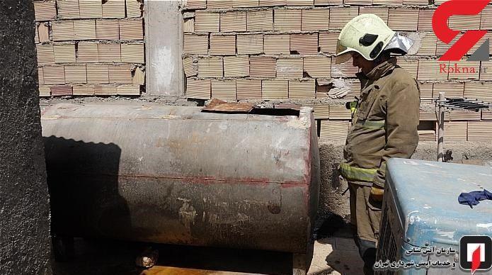 انفجار تانکر فلزی ۲۰۰۰ لیتری آب باعث مصدومیت مرد جوان + عکس
