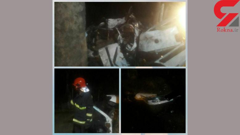 2 کشته در اثر برخورد پژو با درخت در گرگان + عکس