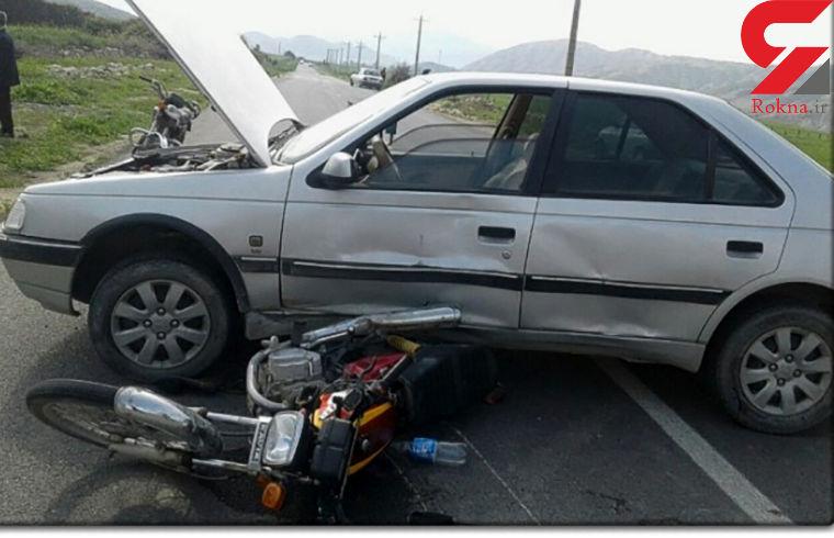 یک کشته حاصل برخورد پژو 405 با موتور سیکلت در جهرم