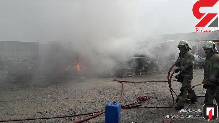 مخزن 30 هزار لیتری قیر در کوی نعمت آباد آتش گرفت + عکس