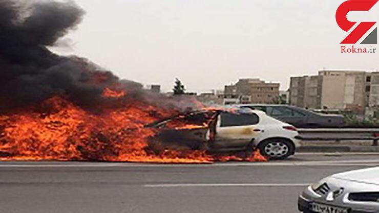پژو 206 در آتش سوخت