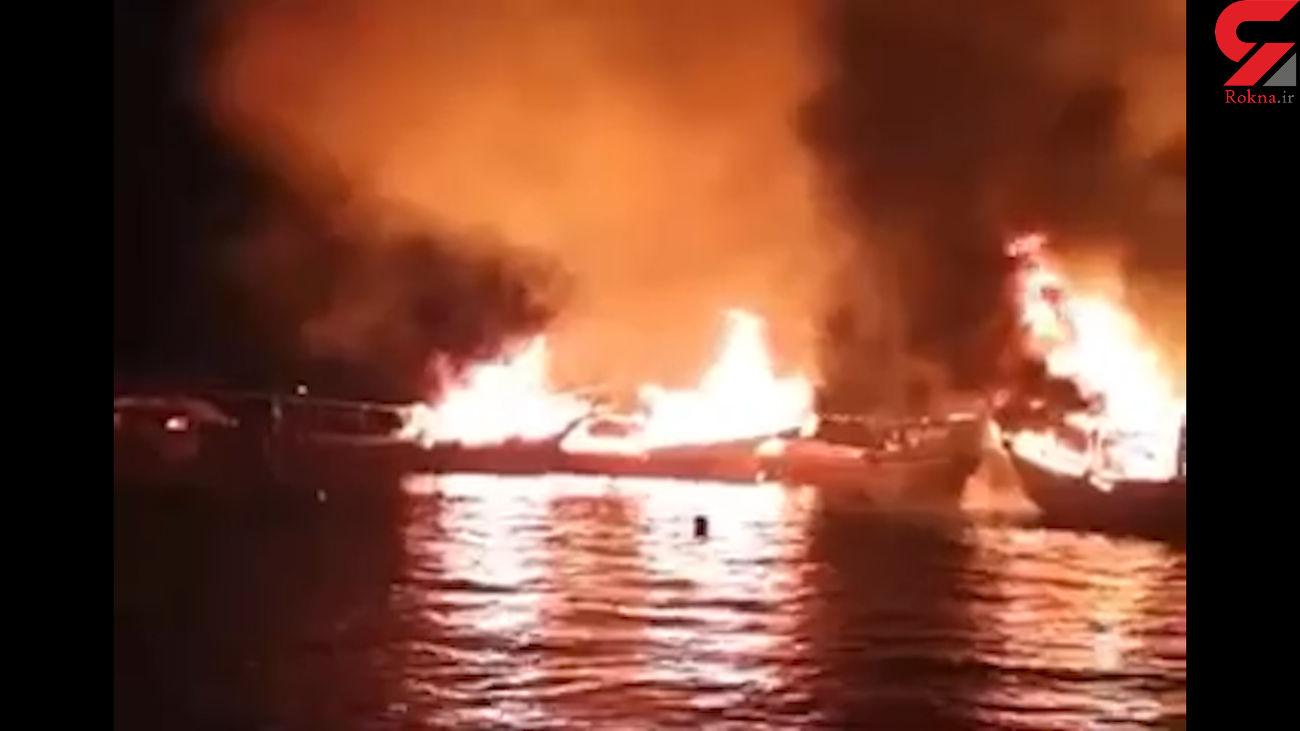 افزایش خسارت آتش سوزی اسکله بندرکنگ به ۸ لنج و ۳ قایق + فیلم
