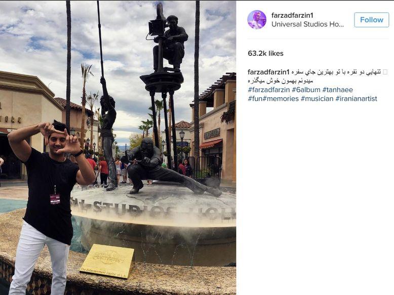 تنهایی دو نفره خواننده معروف ایرانی در تعطیلاتش در آمریکا +عکس