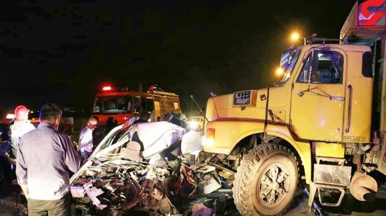 عکسی تلخ از تصادف مرگبار یاسوج / مرگ دلخراش کودک 2 ساله در پراید له شده