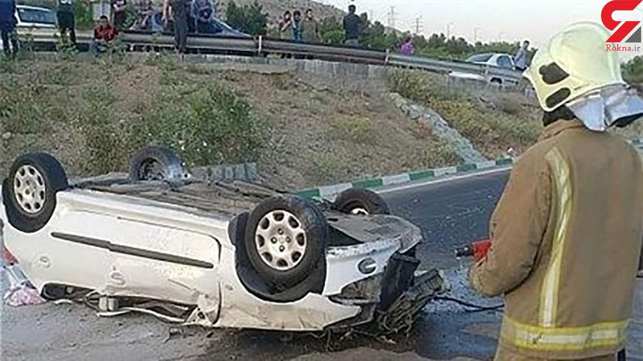 یک کشته در پژو 206 چپ شده در همدان + عکس