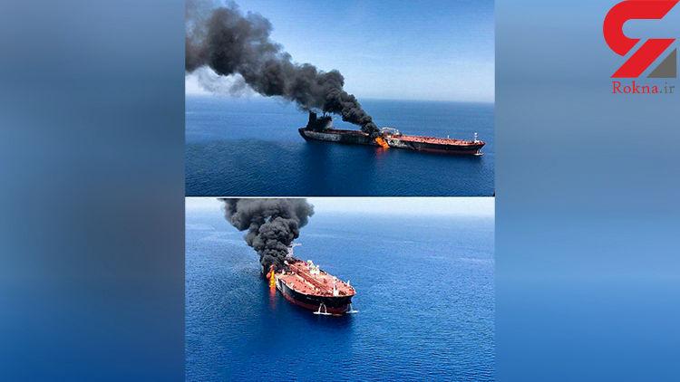 نخستین فیلم از منفجر شدن 2 نفکتش در دریای عمان