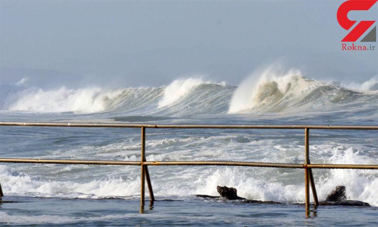 عکس ارتفاع خوفناک موج در ساحل چابهار/ یک سونامی کوچک