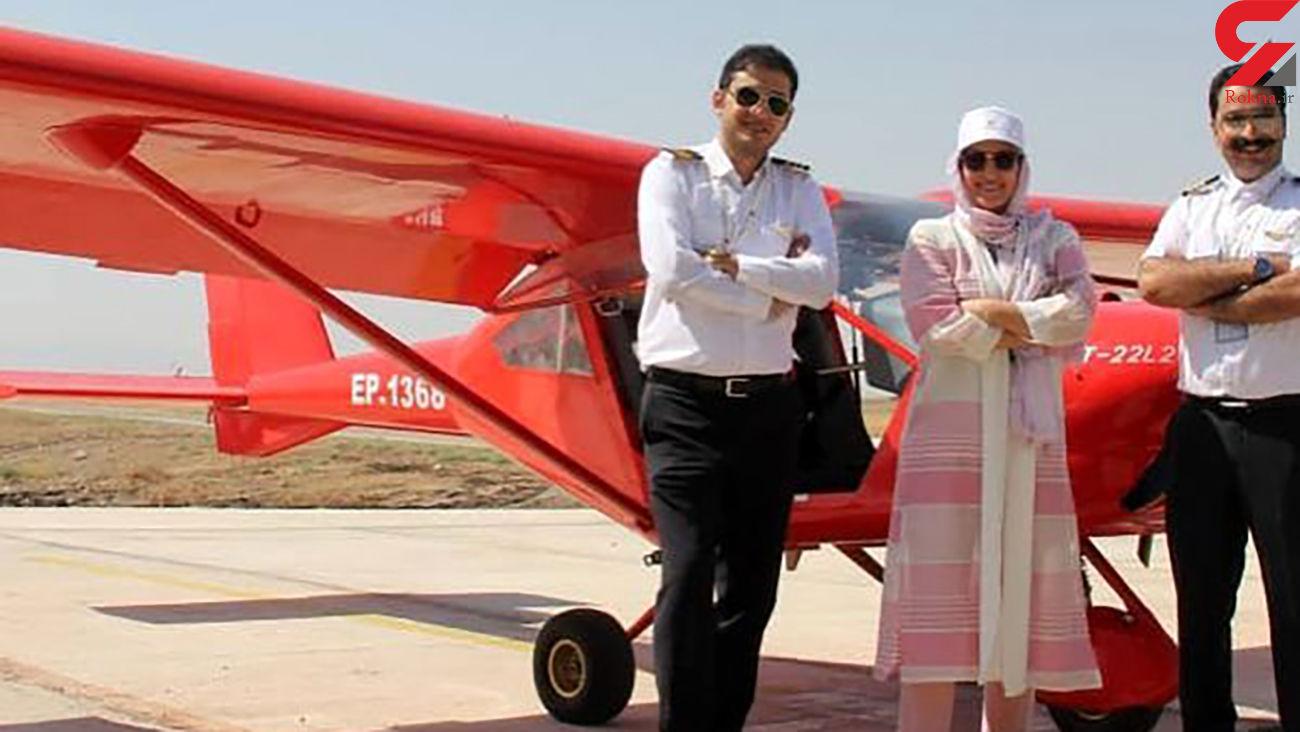 فاطمه گودرزی در کنار خلبان های پروازش + عکس