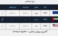 قیمت دلار و قیمت یورو در صرافی ملی امروز ۹۸/۰۵/۳۰|قیمت دلار و یورو تغییر نکرد