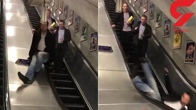 سقوط وحشتناک از پله برقی مترو + فیلم و عکس