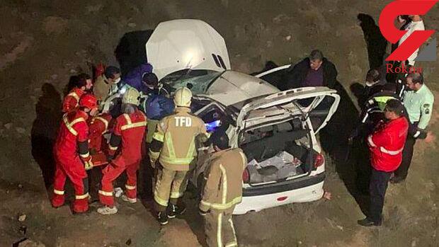 عجیب ترین عکس از سقوط خودرو به دره در تهران