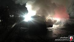 عجیب ترین عکس ها از آتش گرفتن یک ماشین در غرب تهران