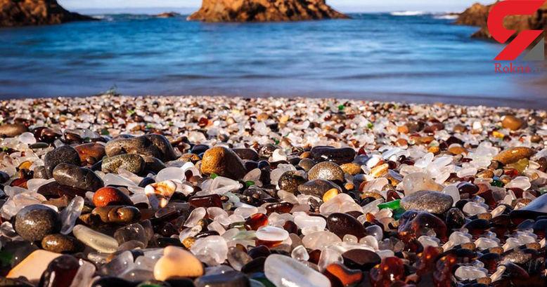 زیباترین ساحل شیشه ای حاصل زباله های مسافران+عکس