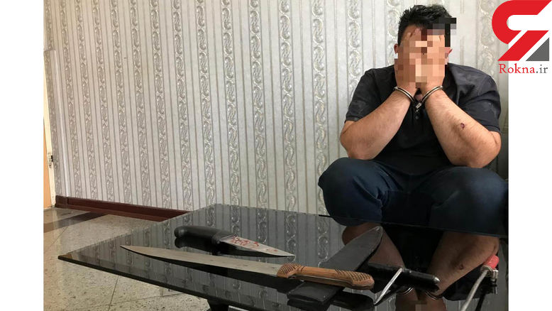 درگیری تن به تن پلیس با شرور قمه به دست در باغ فیض تهران + عکس متهم با قمه وحشتناک