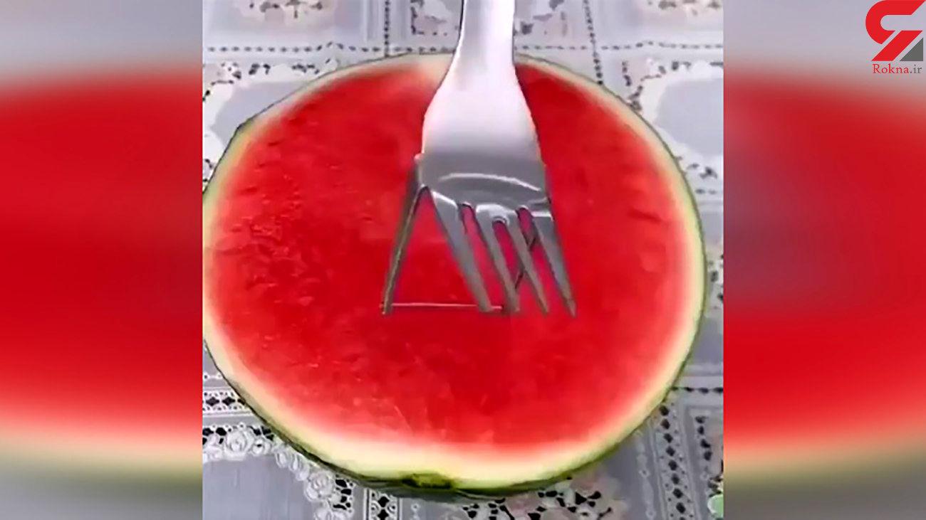 برش زدن هندوانه به روشی متفاوت + فیلم