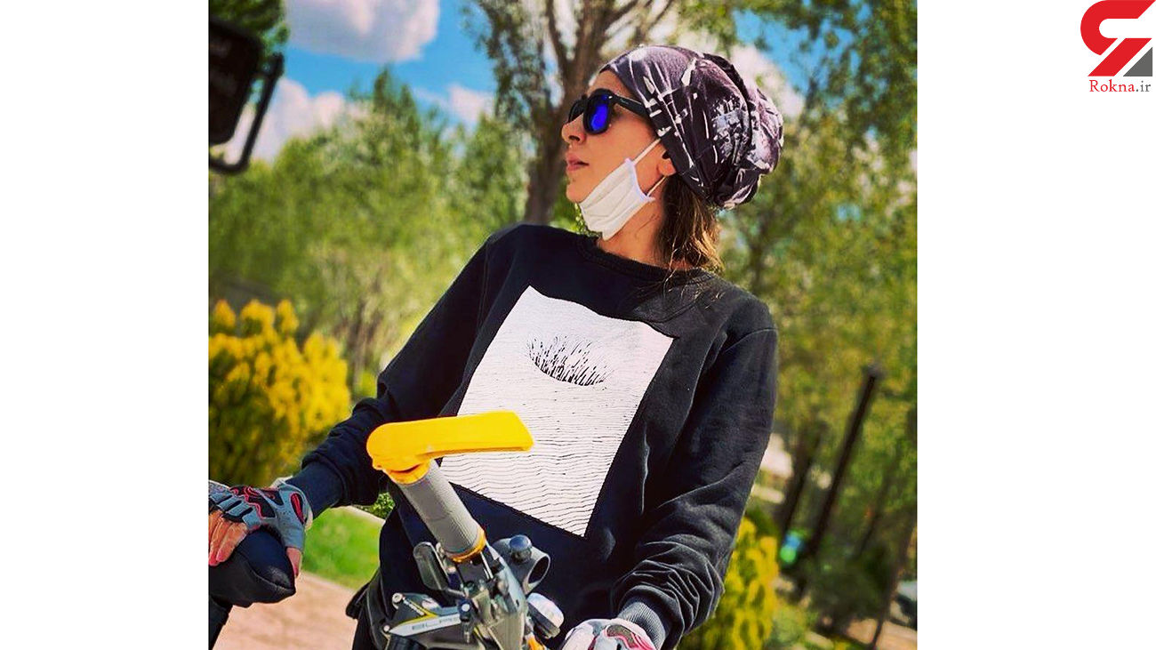 استایل متفاوت سمانه پاکدل در حال دوچرخه سواری + عکس