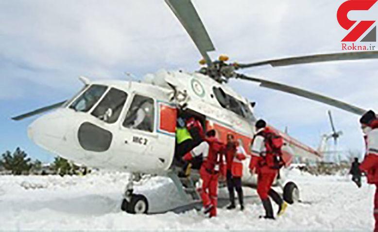 امدادرسانی غذایی با بالگرد به کردستانی های گرفتار در برف