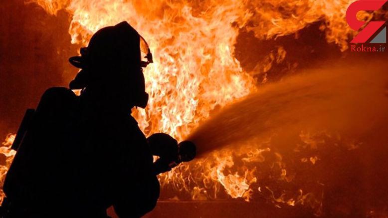 آتش سوزی وحشتناک در انبار فرش در تهران