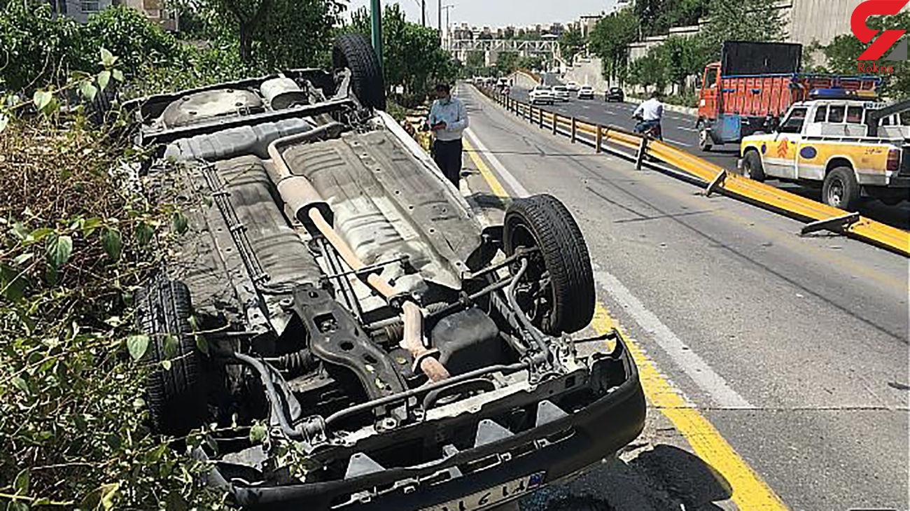 خانم راننده پراید در بزرگراه امام علی(ع) چپ کرد + تصاویر