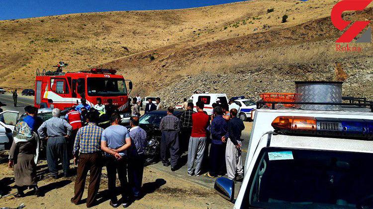 تصادف مرگبار مرسدس بنز با پژو در جاده سقز + عکس